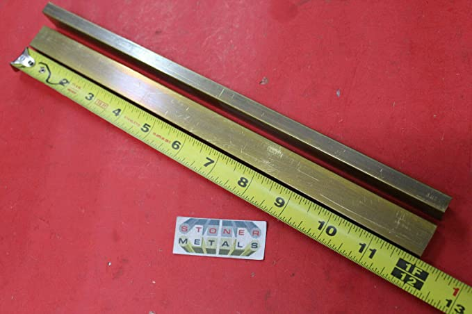 """2 Pieces 1//4/"""" x 1//4/"""" C360 BRASS SQUARE BAR 24/"""" long Solid .25/"""" Mill Stock H02"""