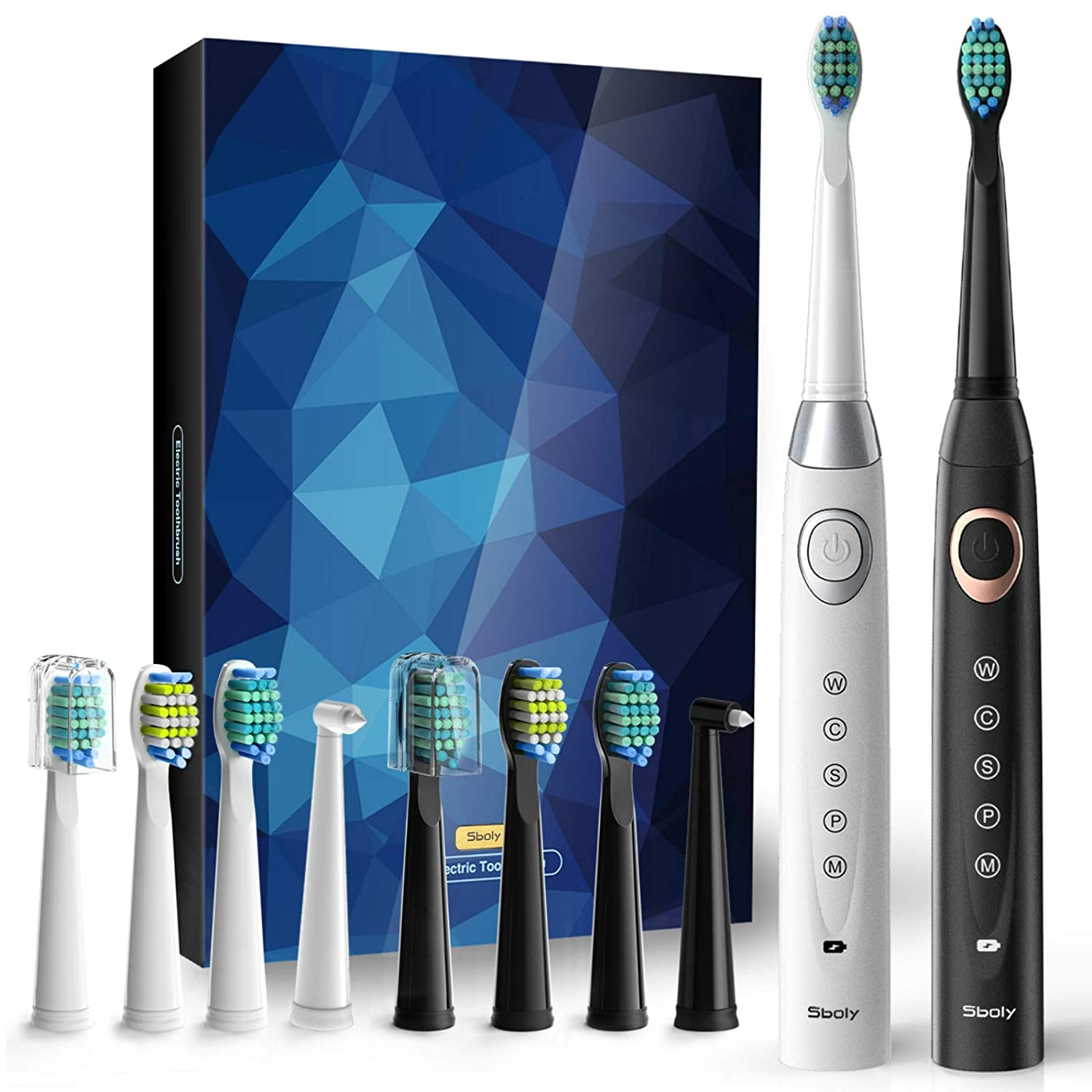 Sboly Sonic 5-Mode 1 White and 1 Black Electric Toothbrushes for Kids