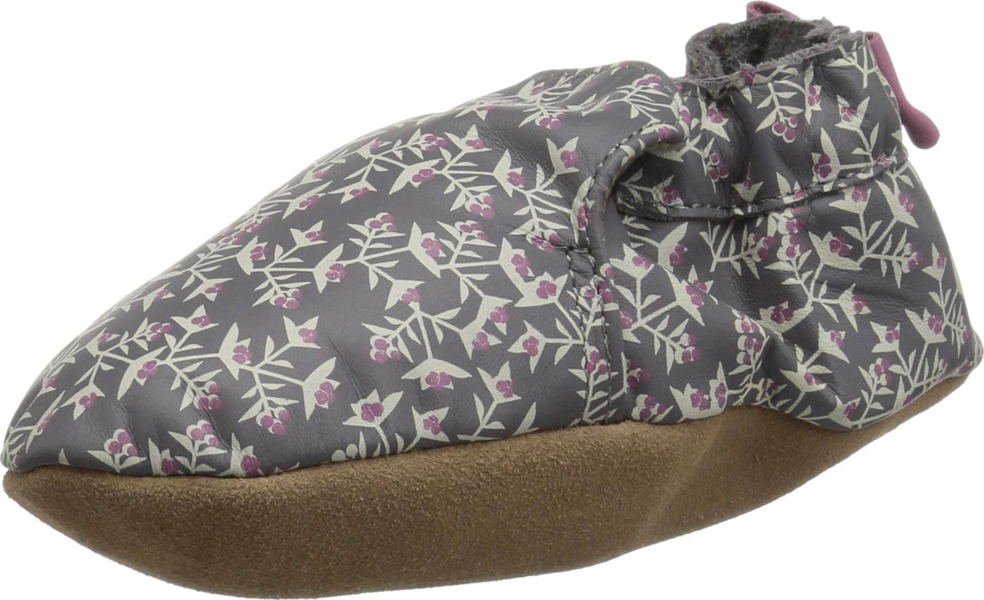 Robeez Girls' Soft Soles with Bow Back Crib Shoe, Berry Beautiful Grey, 6-12 Months M US Infant