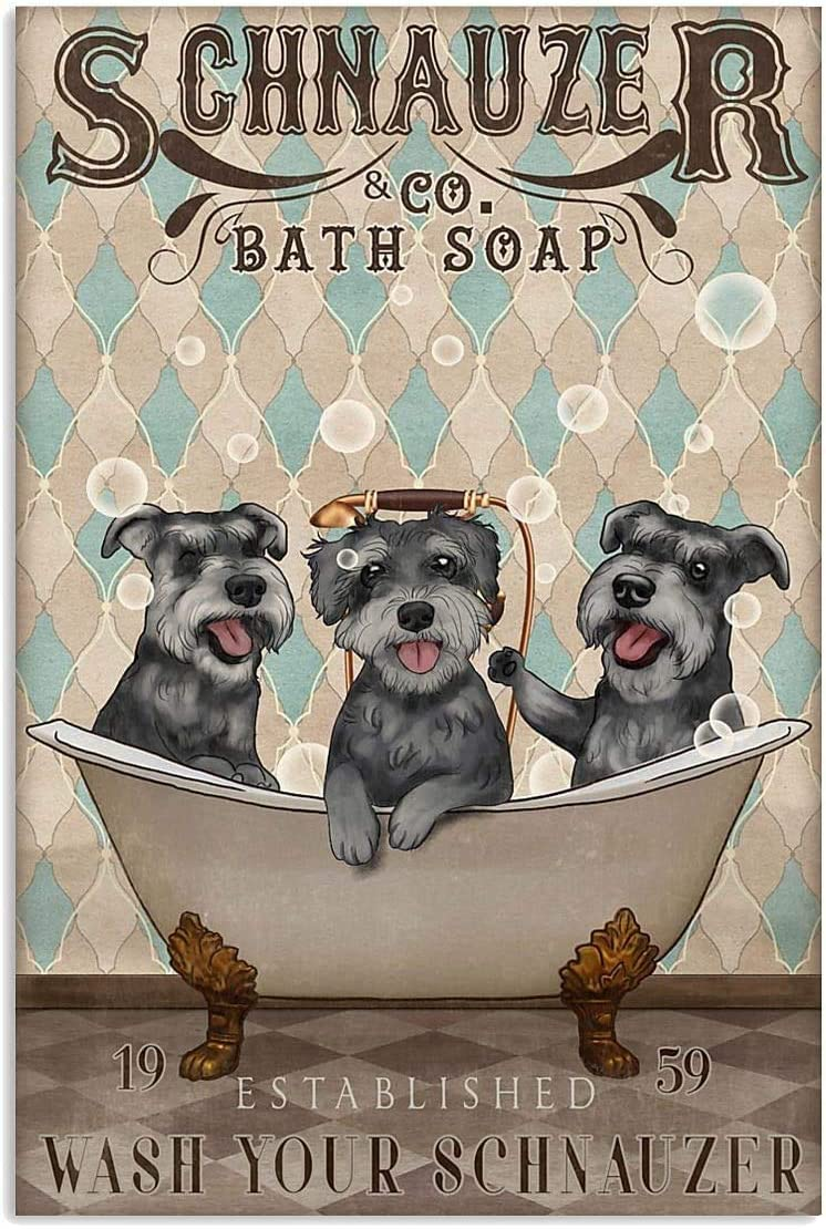 "Lovely Schnauzer Poster Schnauzer Bath Soap Wash Your Bernese Wall Art Hanging Poster Painting Canvas Paper Photography Abstract Watercolor Living, Bedroom, Bathroom, Home Decor, No Frame (12""x18"")"
