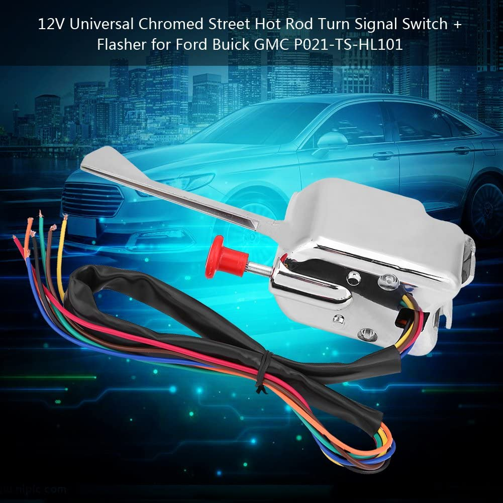 Akozon 12V Universal Street Hot Rod Turn Signal Switch Flasher for Ford Buick GMC P021-TS-HL101