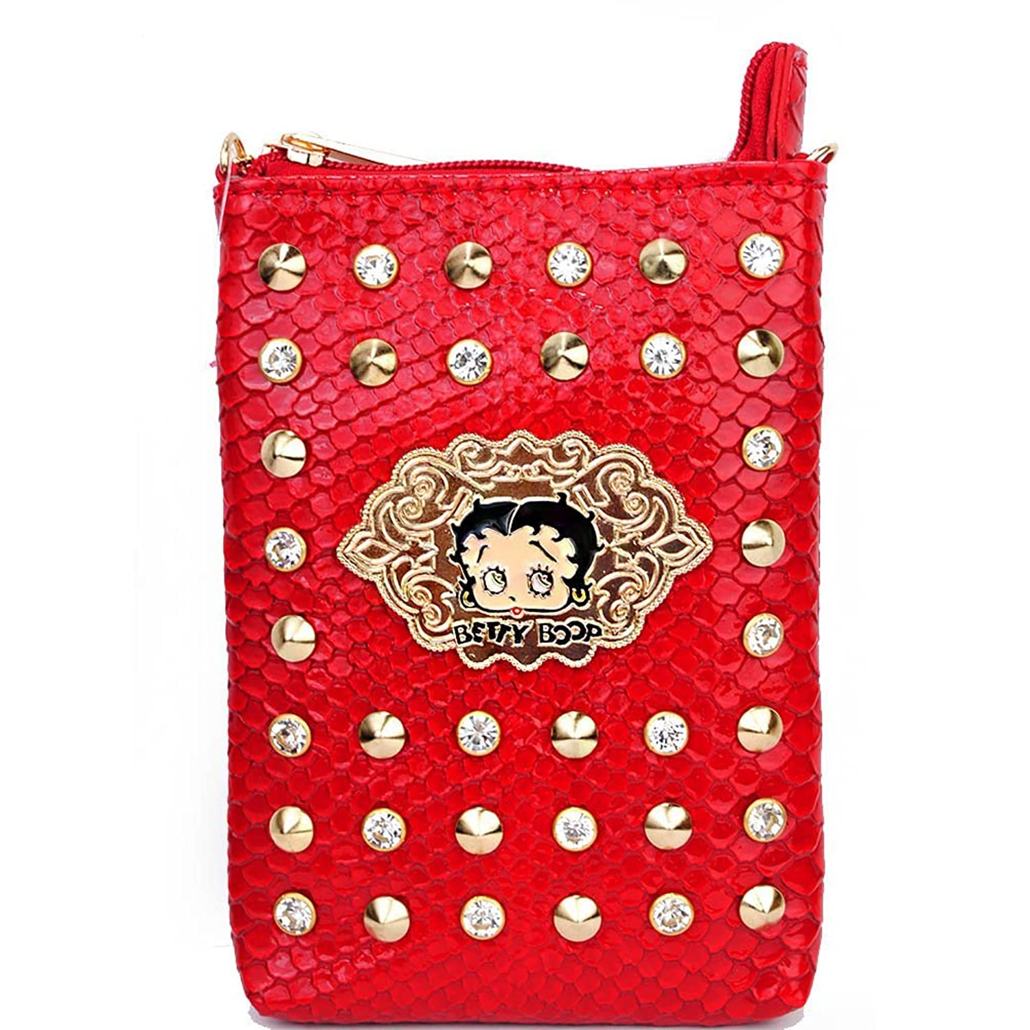 Betty Boop Animal Print Rhinestone Studded Mini Cross Body Bag