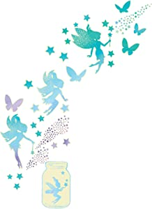 WallPops WPK3018 Fairy Dust Glow in The Dark Art Kit Peel & Stick Wall Decals, Pastel