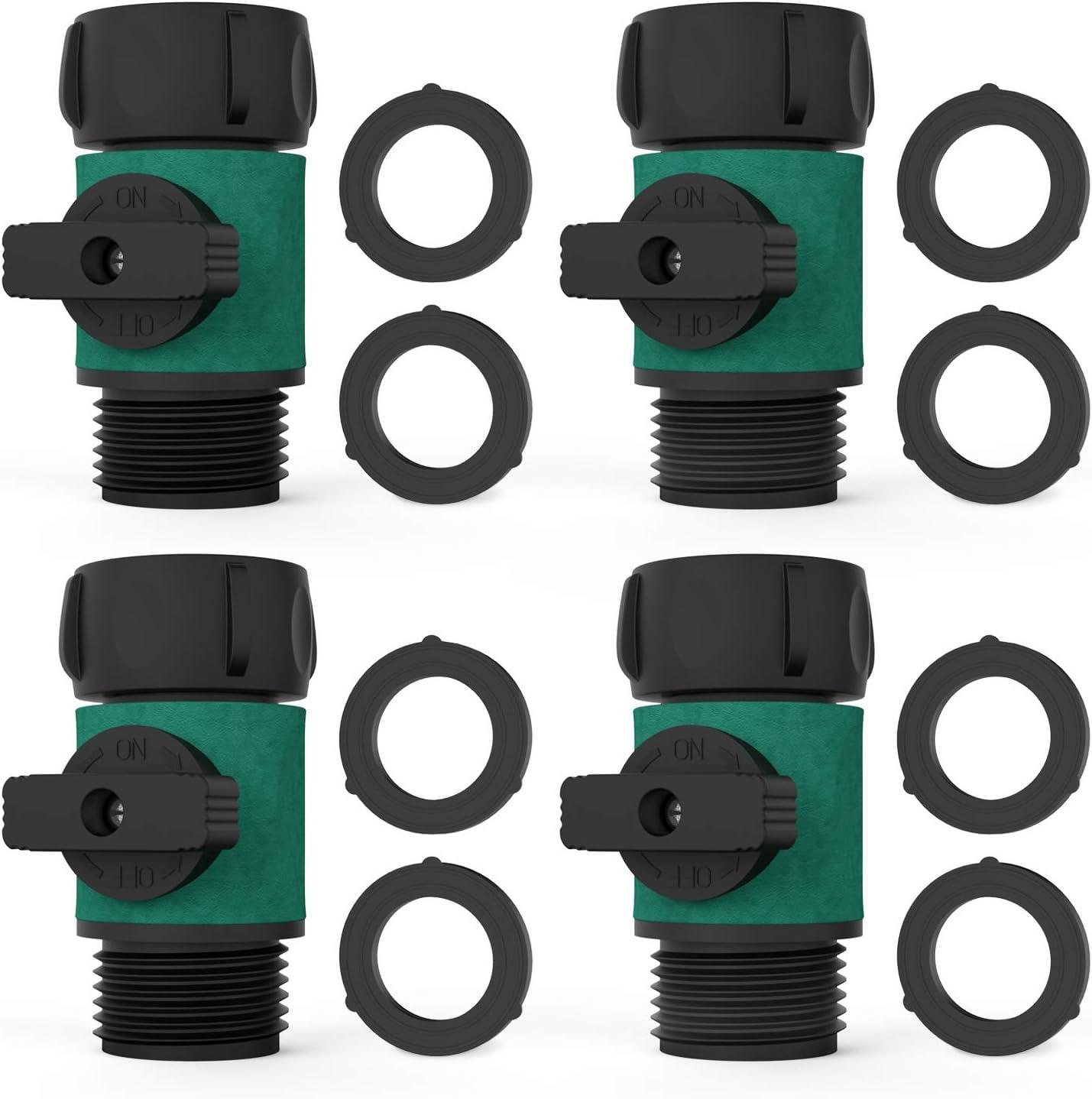 """Asgens Garden Hose Shut Off Valve, Garden Hose Turn Off Valve Garden Hose Connector Set with Rubber Washers 8 Pc+ Valve 4 Pc, Standard 3/4"""" Thread"""