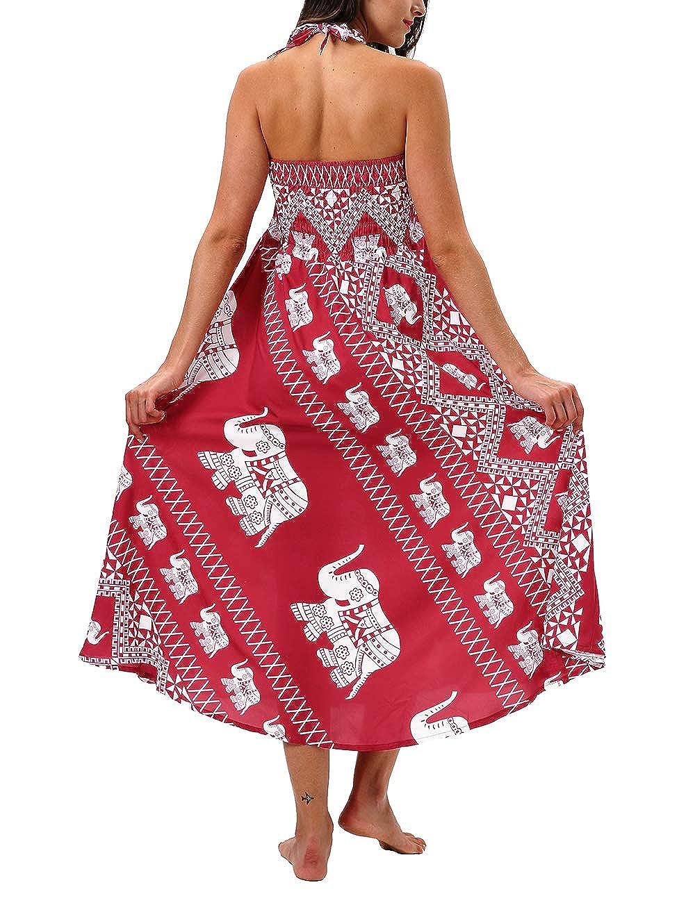SEBOWEL Women Printed Beach Dress Skirts Bikini Swimwear Cover Ups Kaftan