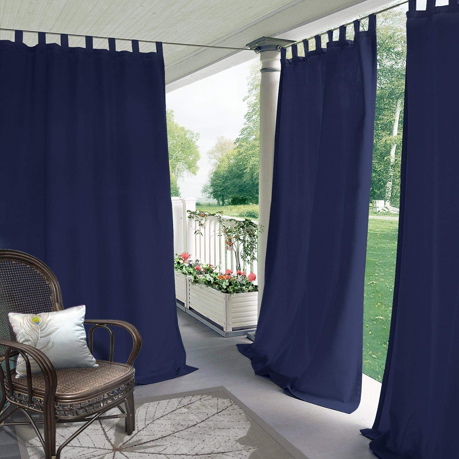 CosyPages Summer Outdoor Curtains for Front Porch Pergola Cabana Covered Patio Gazebo Dock and Beach Home Noise Reducing Heat Insulated TAP TOP 50'' W x 84'' L (1 Panel) Navy