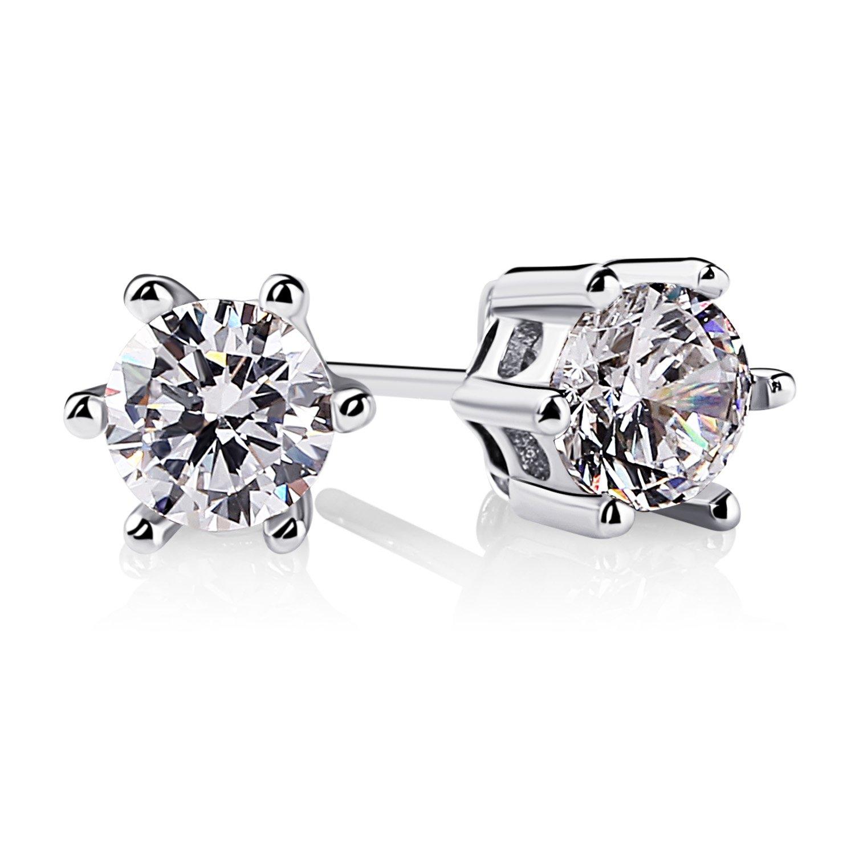 76c8d58de B.Catcher Women Earrings 925 Sterling Silver Round Cut Cubic Zirconia Stud  Earrings Sets: Amazon.co.uk: Jewellery