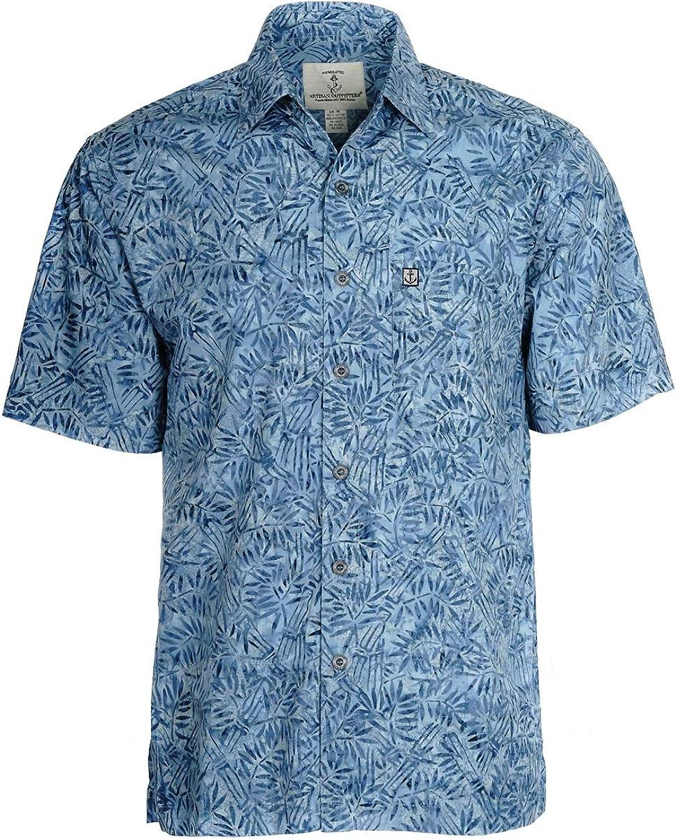 A0214-71-LT Artisan Outfitters Mens Surfside Batik Cotton Shirt LT, Steel Blue