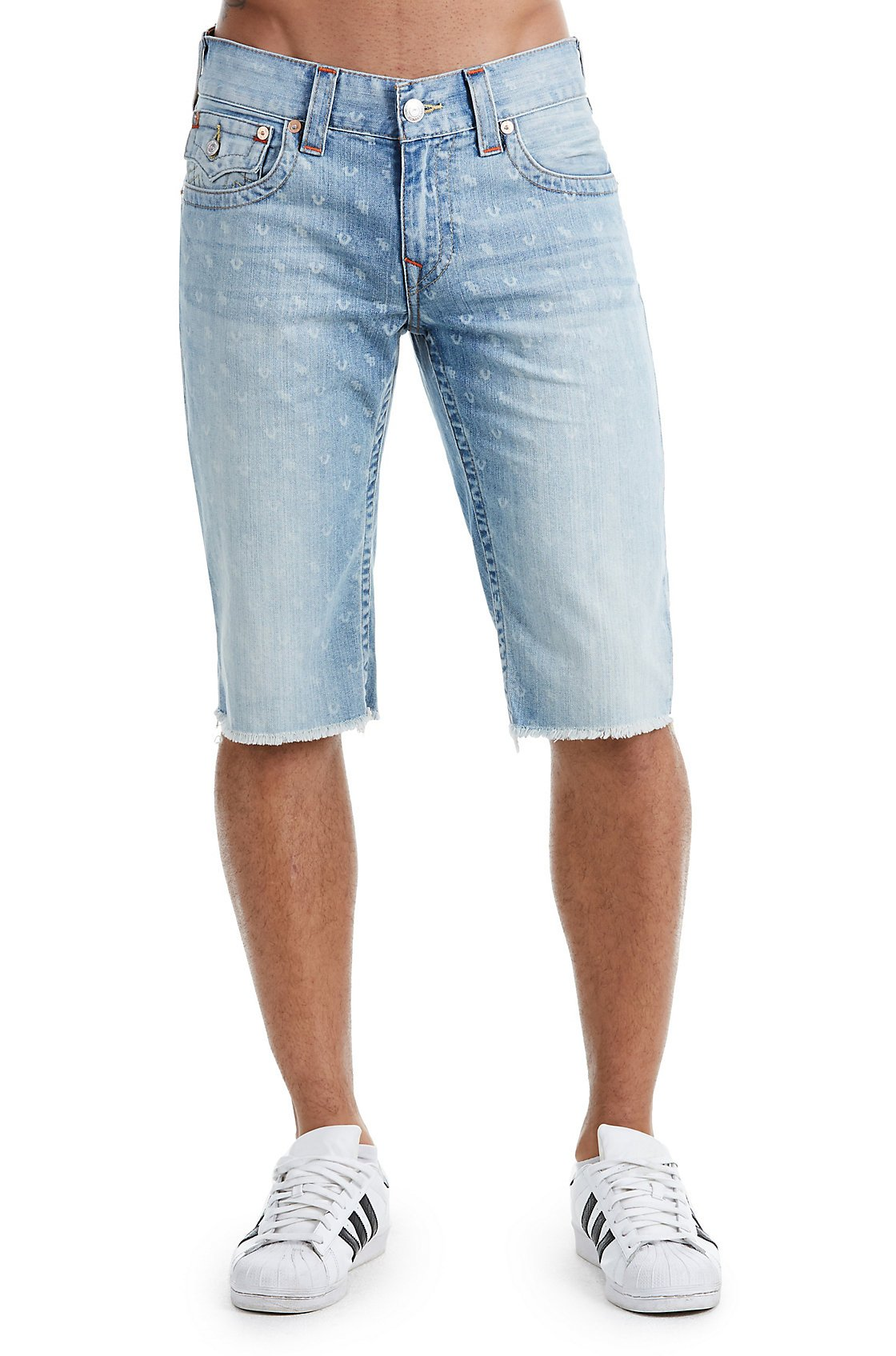 True Religion Men's Straight Denim Cut-Off Monogram Shorts w/Flaps In Chill Indigo (34)