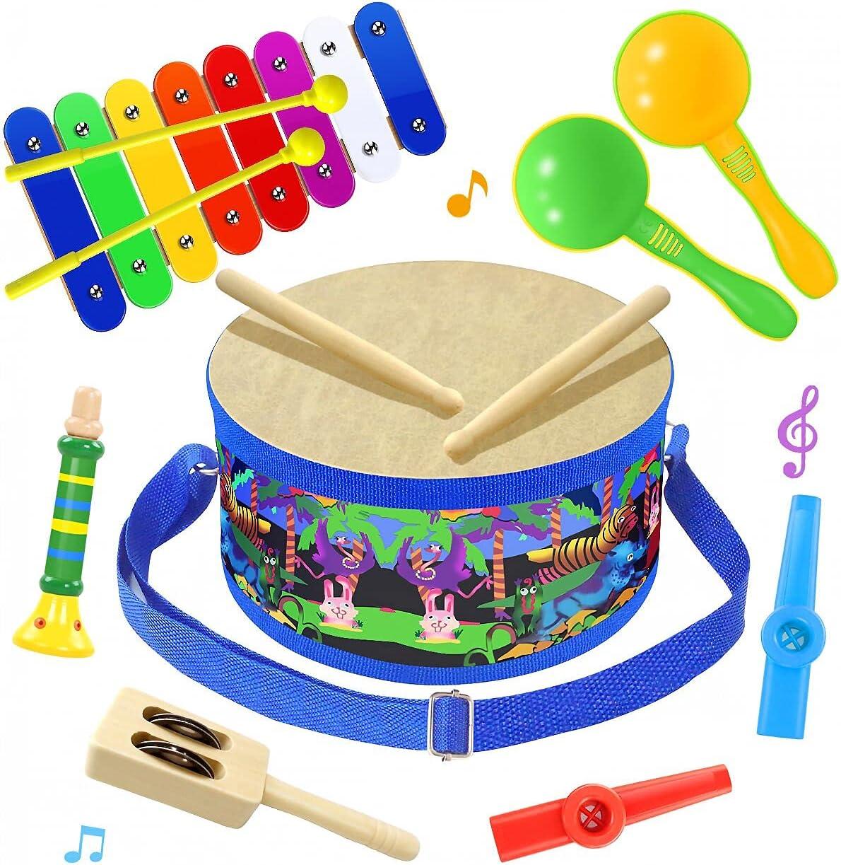 Amazon Com Smarkids Musical Instruments Music Toys Wood Toddler Kids Drum Set Toys Games