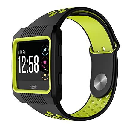 Fitbit Ionic Bands and Case,MYRIANN Accessories Set with Silicone Sport Band and Protective Case Cover for Fitbit Ionic Smart Watch (Black/Fluorescent ...