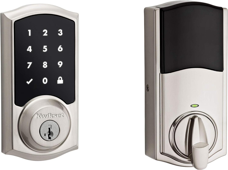 Kwikset 99160-020 Smartcode 916 Traditional Smart Lock Touchscreen Electronic Deadbolt Door Lock with SmartKey Security and Z-Wave Plus, Satin Nickel