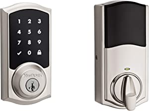 Kwikset 99160-020 Smartcode 916 Traditional Smart Lock Touchscreen Electronic Deadbolt Door Lock with SmartKey Security and Z-Wave Plus, Satin Nickel