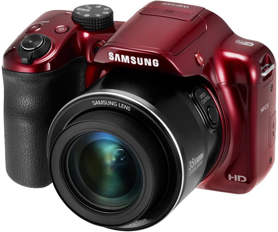 """Samsung WB1100F 16.2MP CCD Smart WiFi & NFC Digital Camera with 35x Optical Zoom, 3.0"""" LCD and 720p HD Video (Red)"""