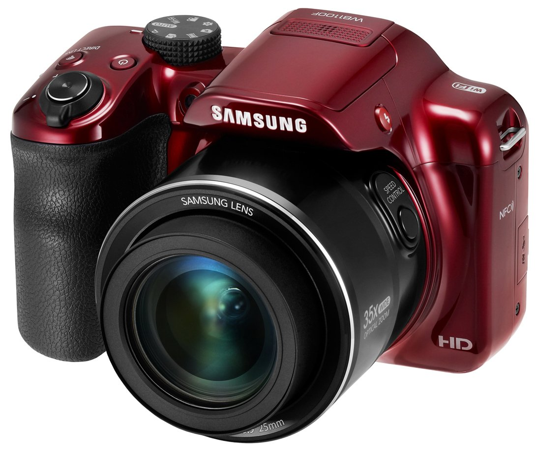 Samsung WB1100F 16.2MP CCD Smart WiFi & NFC Digital Camera with 35x Optical Zoom, 3.0'' LCD and 720p HD Video (Red)