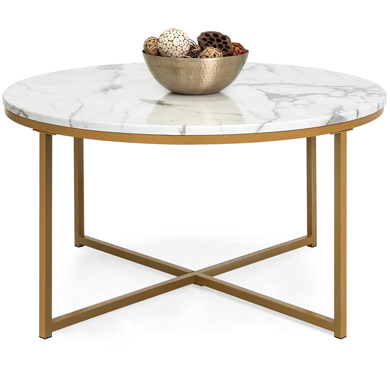 Amazon com best choice products 35in modern living room round accent side coffee table w metal frame faux marble top white gold kitchen dining