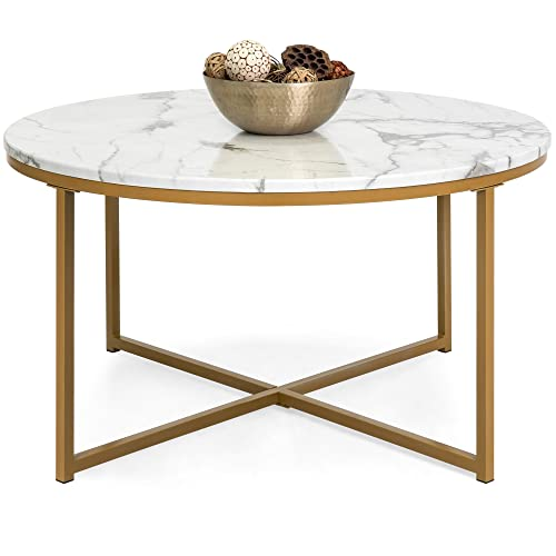 Best Choice Products 36in Faux Marble Modern Living Room Round Accent Side Coffee Table w Metal Frame, White Bronze Gold
