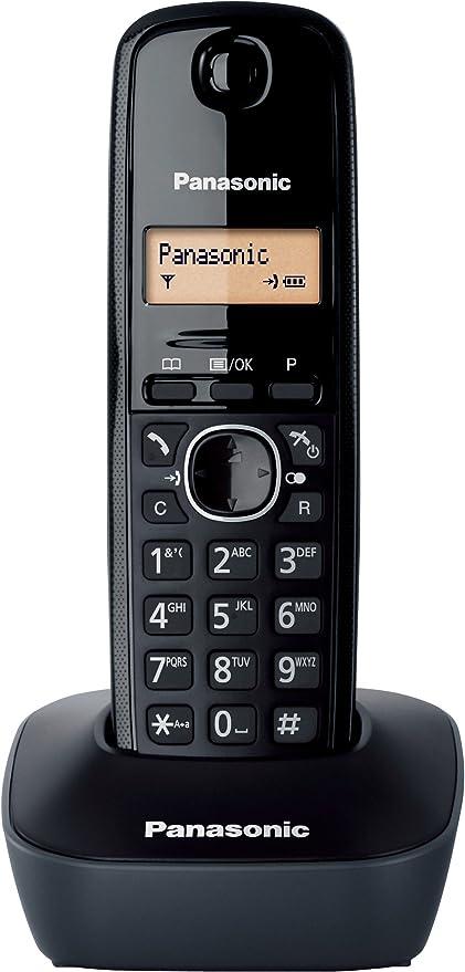 Panasonic KX-TG1611SPH - Teléfono Fijo Inalámbrico DECT, LCD, Identificador de Llamadas, Agenda de 50 Números, Tecla de Navegación, Alarma, Reloj, color Negro: Panasonic: Amazon.es: Electrónica