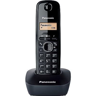 Panasonic KX-TG1611SPH - Teléfono Fijo Inalámbrico DECT, LCD, Identificador de Llamadas, Agenda de 50 Números, Tecla de Navegación, Alarma, Reloj, color Negro