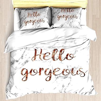 c853e99f89764 Hello Gorgeous - Rose Gold Marble - Duvet Cover Set Soft Comforter Cover  Pillowcase Bed Set