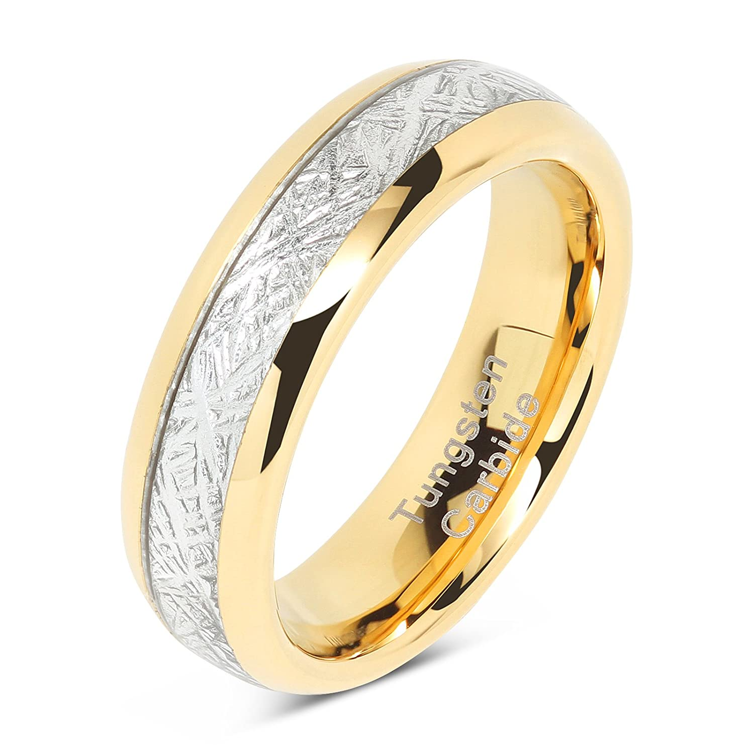 100S JEWELRY 6mm Mens & Womens Tungsten Carbide Ring Meteorite Inlay Wedding Band Size 4-13