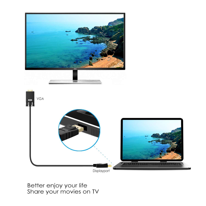 f/ür der Monitor Desktops,Lenovo Adapter vergoldet Stecker 1m Dell,HP,ASUS Schwarz ICZI DisplayPort auf VGA Kabel 1080P Male zu Male