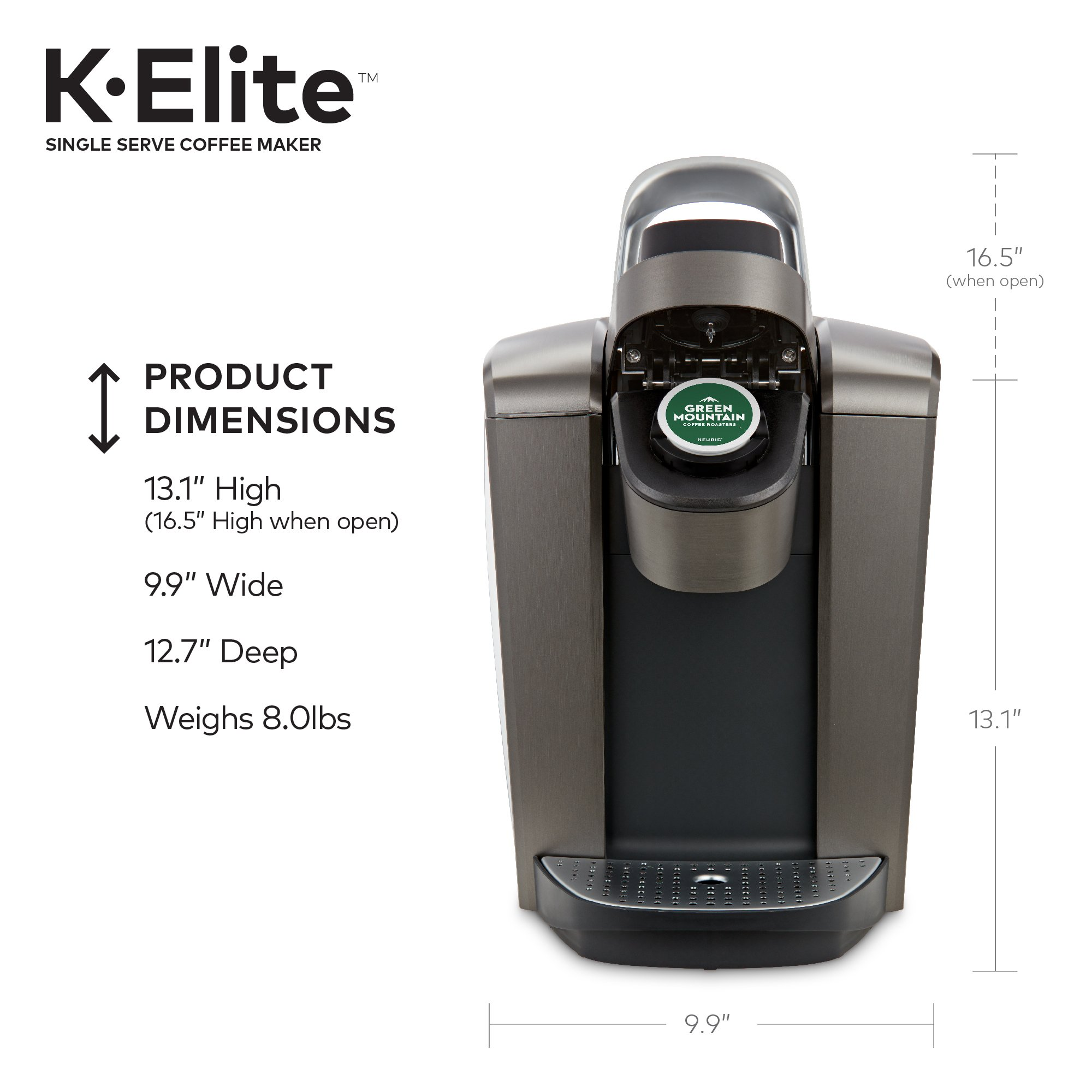 Keurig K-Elite K Single Serve K-Cup Pod Maker, with Strong Temperature Control, Iced Coffee Capability, 12oz Brew Size, Brushed Slate by Keurig (Image #8)