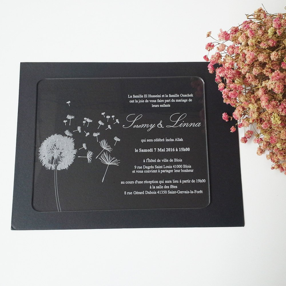 100pcs per lot dandelion 5*7inch rectangle shape laser engraving letters clear acrylic acrylic wedding invitation card by HanTang Grand-Tech