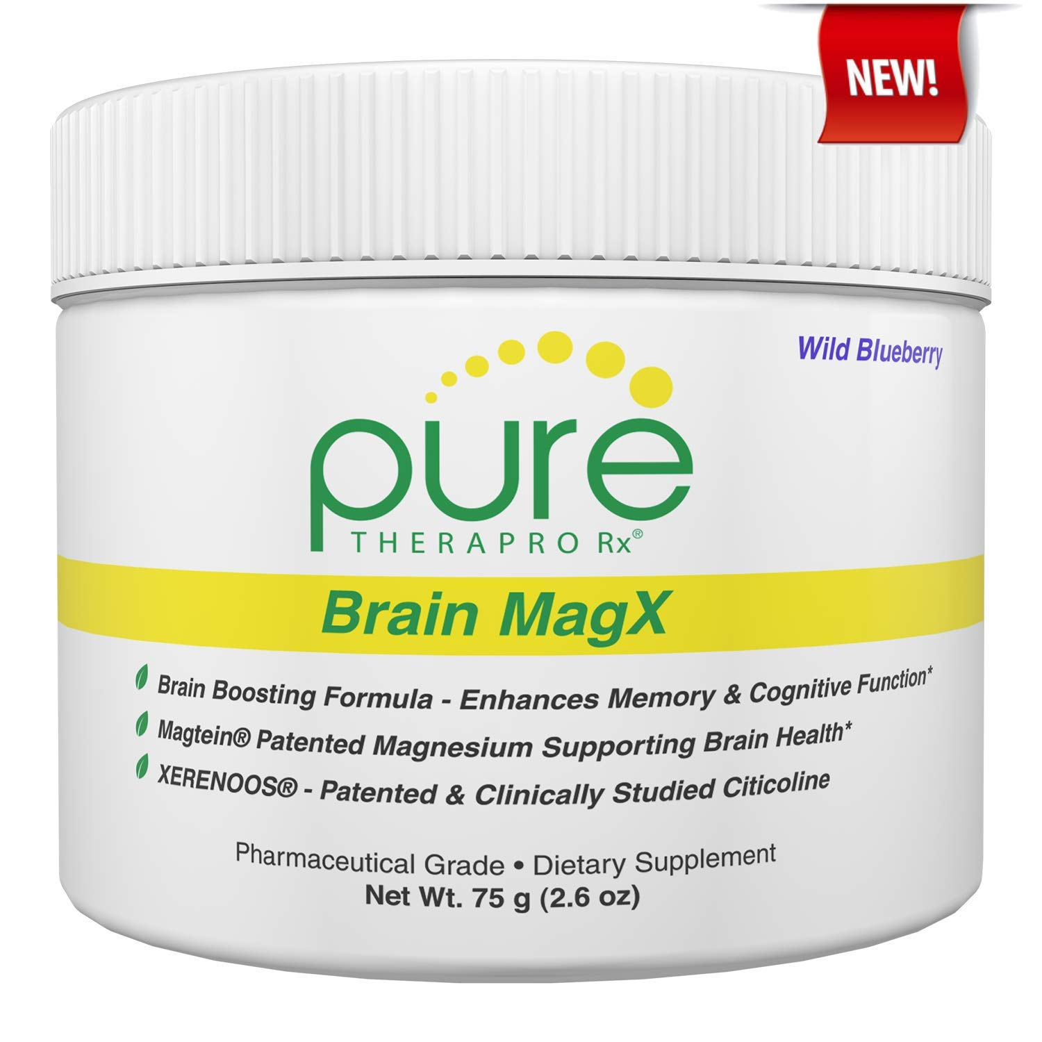 Brain MagX - Wild Blueberry 30 Servings | Nootropic Brain Boosting Formula Containing: Magtein, Xerenoos (Citicoline) & Huperzine A | Enhance Focus, Boost Concentration & Improve Memory | Vegan by Pure Therapro Rx