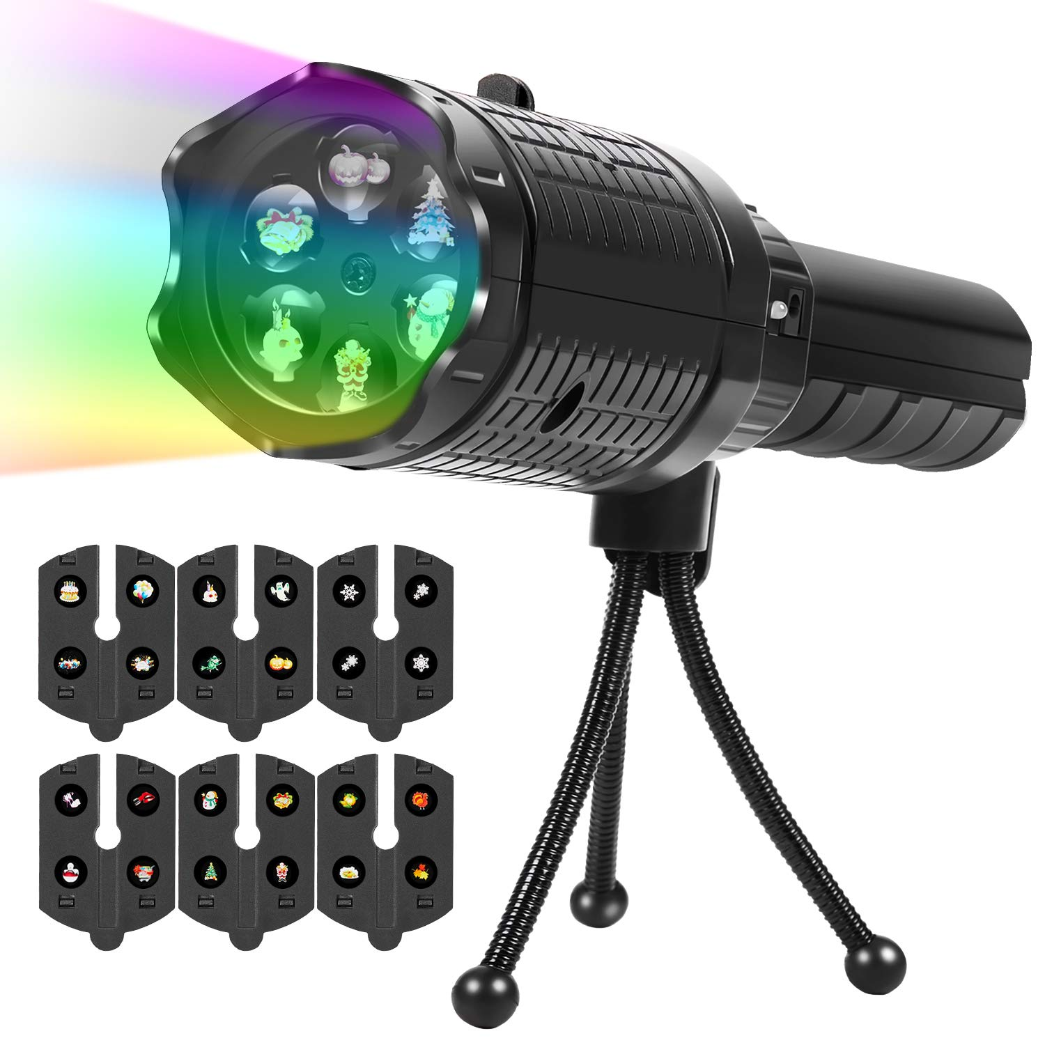 Upperx LED Projector Lights, 6 Slides Projection Portable Rotating Holiday Lights with Tripod, Battery-Operated 2 in 1 Decoration Light &Handheld Flashlight for Party,Birthday,Christmas,Halloween,East