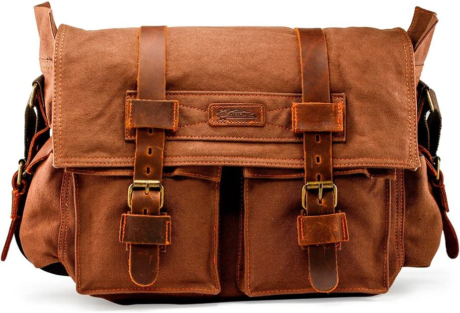 "GEARONIC Mens Canvas Leather Messenger Bag for 14"" 15"" 17"" Laptop Vintage Shoulder Crossbody"