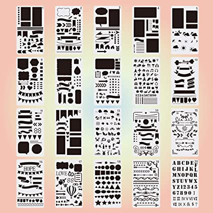 Bullet Journal Stencil Set Plastic Planner DIY Drawing Template Diary 24 Pcs