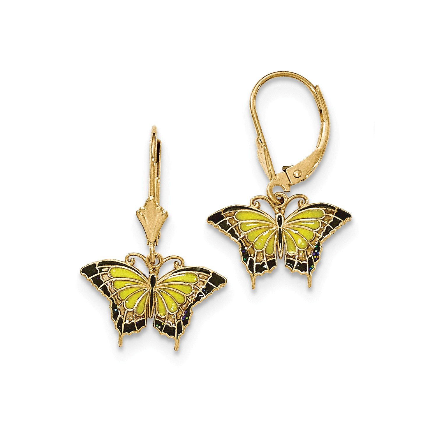 Roy Rose Jewelry 14K Yellow Gold Butterfly w/Yellow Stained Glass Acrylic Wings Leverback Earrings by Roy Rose Jewelry