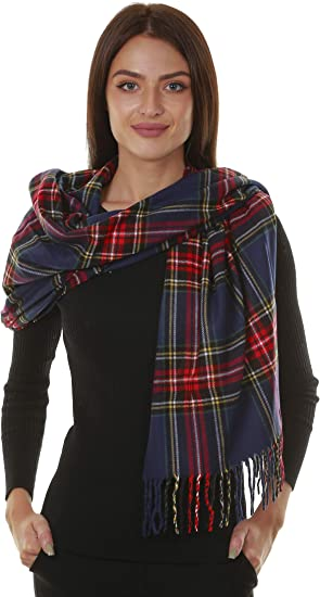 Cosy Large Checked Check Plaid Blanket Scarf Wrap Black Burgundy Navy Blue Grey