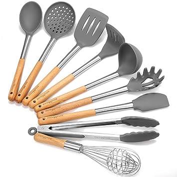 Godmorn Kitchen Utensils Kitchen Utensil Sets 9 Piece Silicone Kitchen Utensils Nonstick Utensil Set Cooking Tool Silicone Stainless Steel