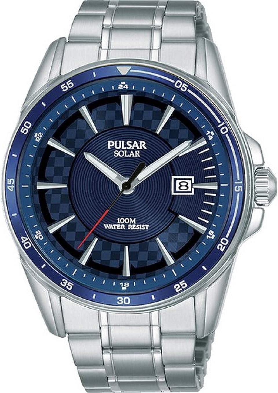 Pulsar - Reloj de Pulsera de Acero Inoxidable con Esfera Azul Solar para Hombre