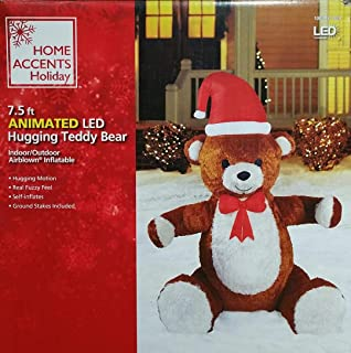 7240e0614f0c8 Home Accents Holiday 83388 7.5 ft. Animated Inflatable Plush Hugging Teddy  Bear