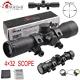 PROSUPPLIES @ AIM SPORTS® Tactical 4X32 Compact .223 .308 Scope /w Rings Mil-Dot reticle