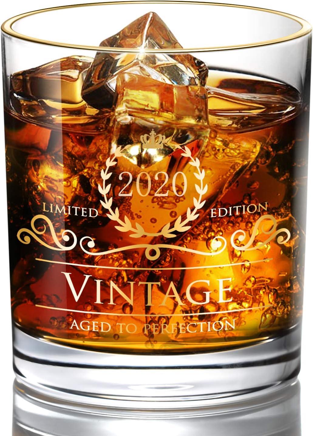 DesBerry 2020 Aniversarios Regalos Whisky Vasos, Tumbler Vidrio Whiskyglas whiskybecher Cristal con Impreso año 2020 Männergeschenke Geburtstagsgeschenke