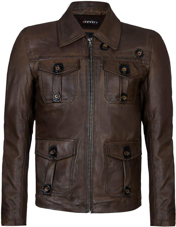 Infinity Leather Chaqueta Motorista Harrington 100% de Cuero con Cremallera Retro para Hombre