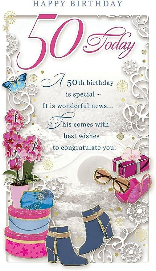50 Ans Carte D Anniversaire Pour Femme 50 Aujourd Hui Orchidee Bottes Et Boites Cadeau 22 9 X 12 1 Cm Amazon Fr Cuisine Maison