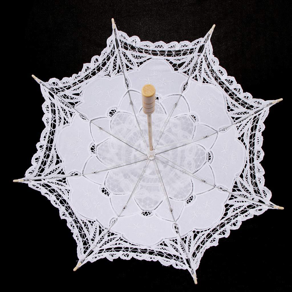 Sharplace Paraguas Vintage Cordón de Algodón Mini Paraguas Nupcial de Muchachas - Blanco, 76cm: Amazon.es: Hogar