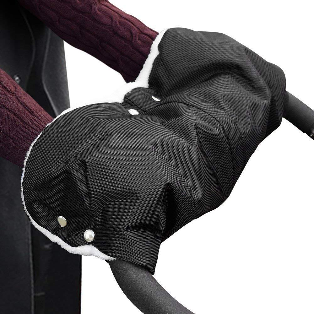 Schwarz Extra Dick Fleece Innenseite Handmuff Handschuhe Universalgr/ö/ße f/ür Kinderwagen Buggy Radanh/änger Komake Kinderwagen Handw/ärmer Wasserfest und windfest