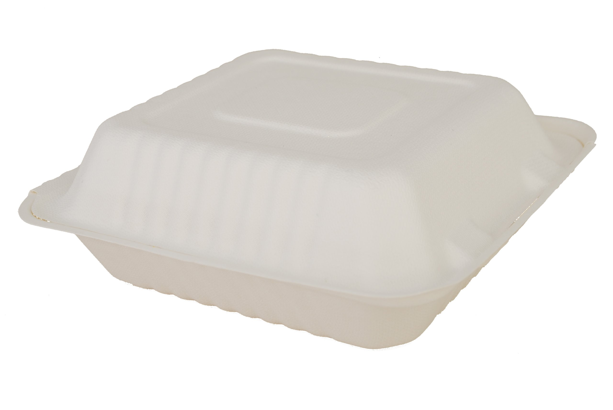 """Southern Champion Tray 18925 ChampWare Molded Fiber White Clamshell Container, 8"""" L x 8"""" W (Case of 200)"""