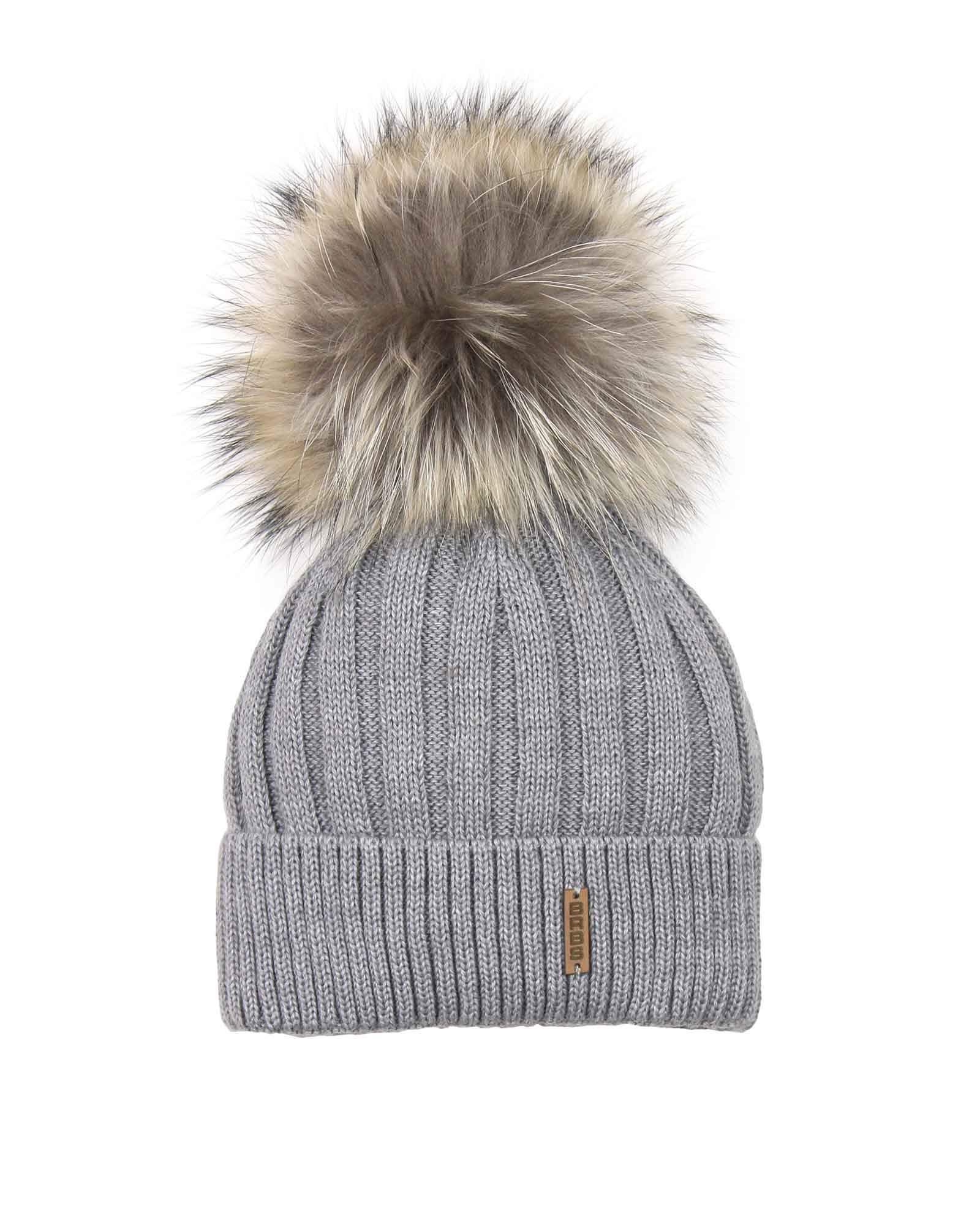 Barbaras Boys' Wool Beanie Hat in Grey with Racoon Pompom, Sizes 2-10 - 52-54