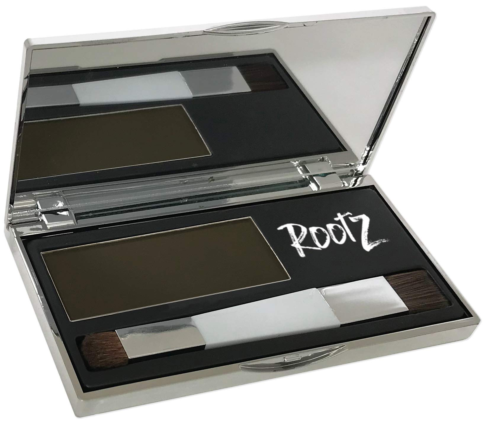 New! RootZ Grey root Cover Up Medium Brown Touch up for Grey Roots. Shape and Thicken Eyebrows Too. Unique Dual Action Brush - One Product - Two Uses