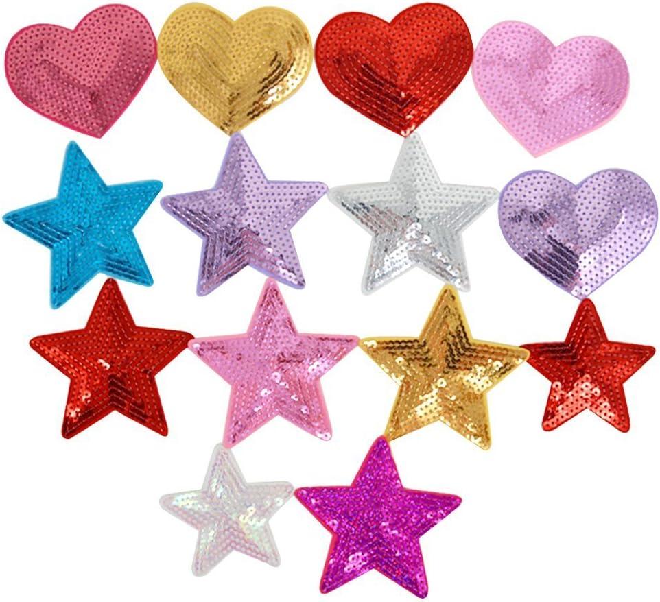 LA HAUTE - Pack de 14 parches de lentejuelas con forma de estrellas y corazones: Amazon.es: Hogar