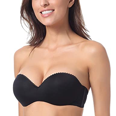 DOBREVA Women's Convertible Multiway Underwire Padded Strapless Push Up Bra Black 32A