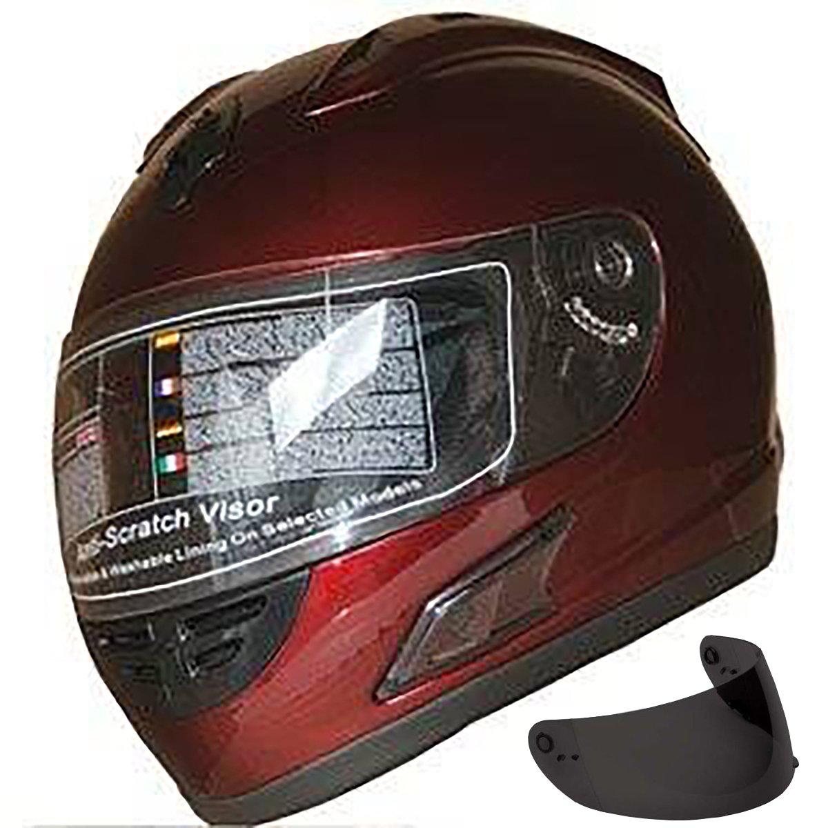 Motorcycle Street Sport Bike Helmet Full Face Helmet FF10 2 Visors Comes with Clear Shield and Free Dark Tinted Shield (Burgundy, L)