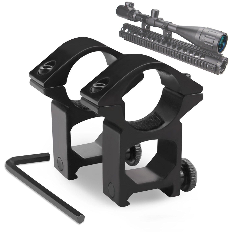 Modkin Weaver Scope Rings, Rifle Scope Mount High Profile Scope Mounts for Picatinny/Weaver Rail (1 inch, Set of 2)
